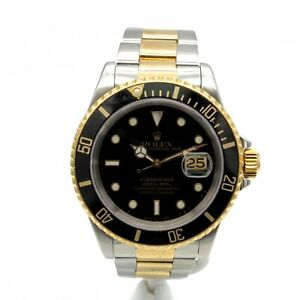 ROLEX SUBMARINER DATE 18K GOLD / STAINLESS STEEL AUTOMATIC w/ BOX NO RESV W421-1