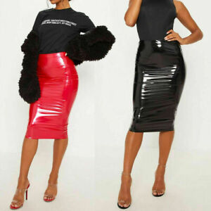 Ladies-PU-Vinyl-Bodycon-Midi-Skirt-Ladies-Night-Out-Party-Wet-Look-Pencil-Skirt