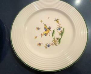 Varages-France-Vtg-Faience-Pottery-Rooster-Set-5-Dinner-Plates-French-Quimper
