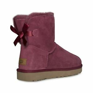 b4cb03c5fc9 Details about UGG MINI BAILEY BOW II GARNET SUEDE SHEEPSKIN ANKLE WOMEN'S  BOOTS SIZE US 8 NEW