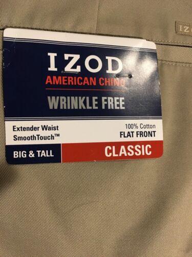 NWT IZOD American Chino Classic-Fit Khaki Flat Front BIG/&Tall 38X36 MSRP $75