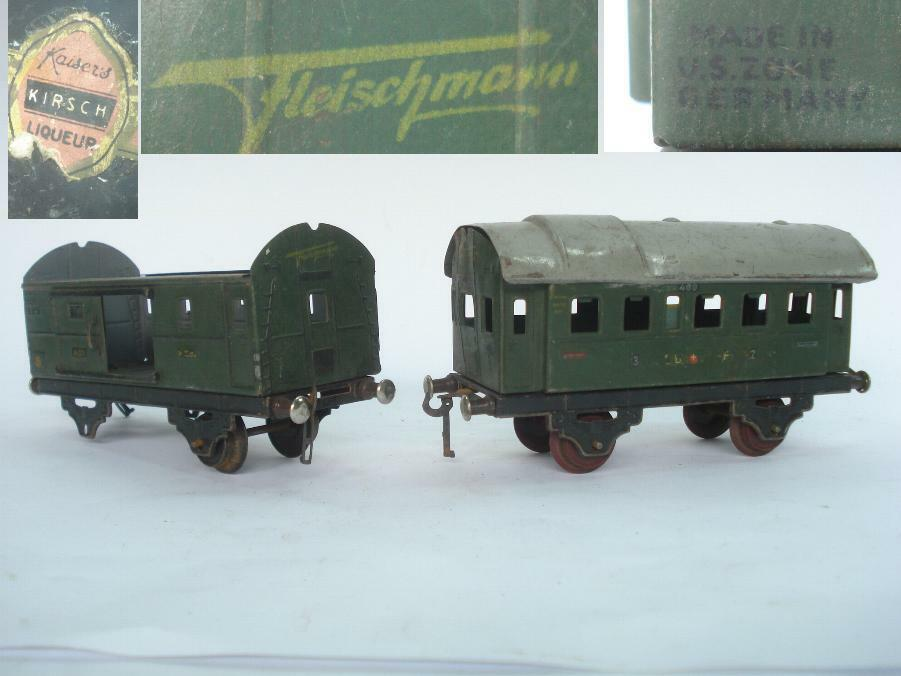 1945 US ZONE GERMANY MODEL TRAIN WAGON CARS – SET OF 2