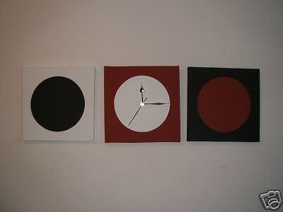 100% Vero 3 Fatto A Mano Arte Moderna Quadri In Tela Nero Rosso Bianco Verniciato Orologio Da Parete 30cm-