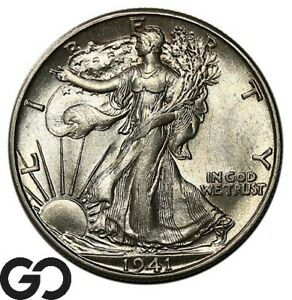 1941-D-Walking-Liberty-Half-Dollar-Very-Nice-Gem-BU