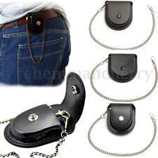 Vintage Leather Chain Pocket Watch Holder Storage Case Box Coin Purse Pouch Bag