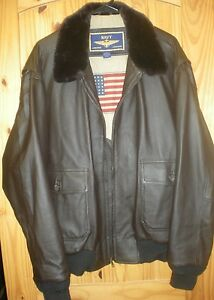 NWOT BROWN NAVY AIRBORNE LEATHER FLIGHT JACKET MENS LARGE | eBay