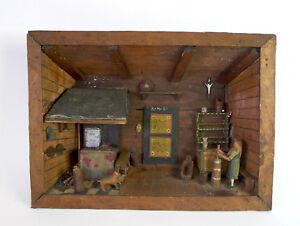antikes Holz Display / Holzdiorama 19.Jhd - BAUERNSTUBE mit Magd und Butterfass