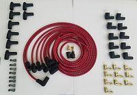 7mm Universal Cloth Covered Spark Plug Wire Kit Set Vintage Wires V6 V8 Red Bk