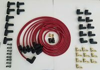 7mm Universal Cloth Covered Spark Plug Wire Kit Set Vintage Wires V6 V8 Red Bk