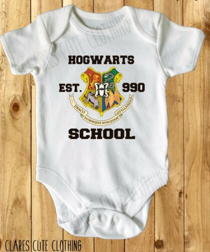 HOGWARTS HARRY POTTER BABY VEST// GROW WHITE AVAILABLE IN MOST SIZE