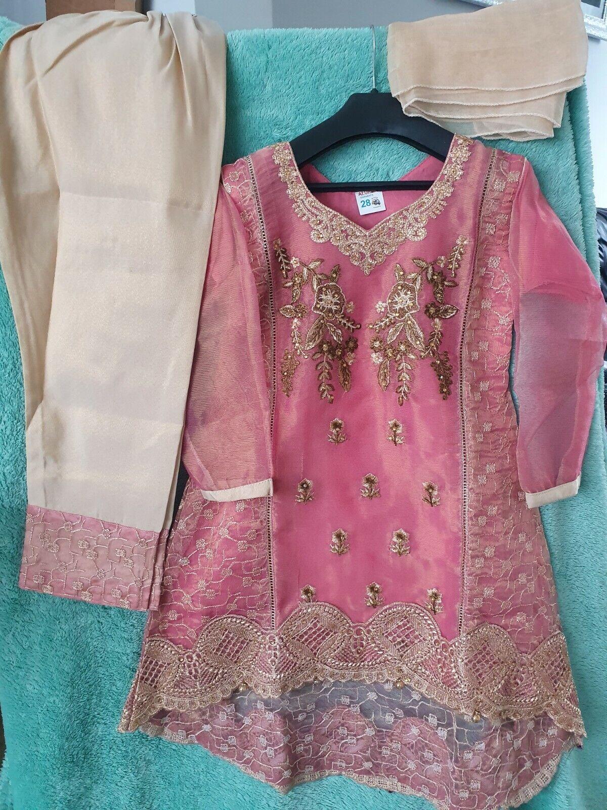 Pakistani Girls Wedding Party Eid Dress Suit sz 36 ~ 9-10y Shimmering Pink Gold