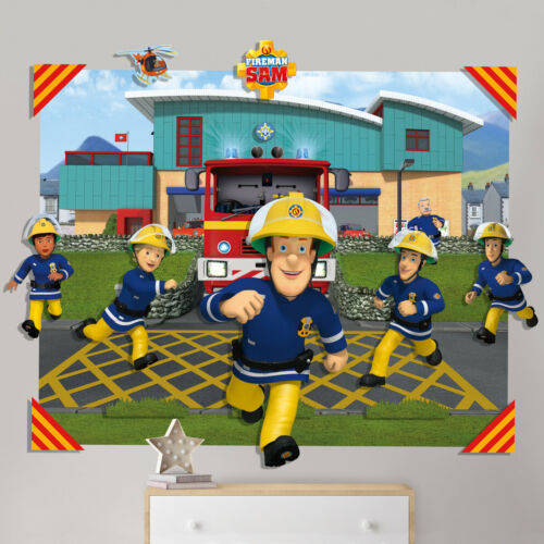 3D Wandbild Wanddekoration Kinderzimmer Sticker Tapete Kinder Feuerwehrmann Sam