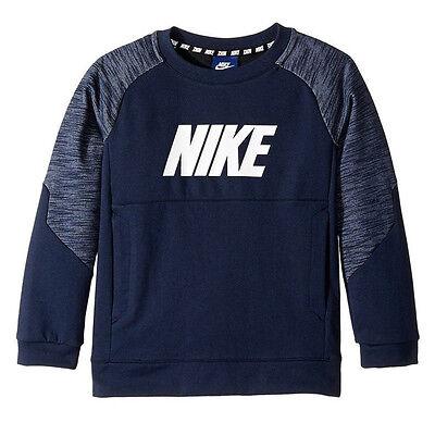 Nike Kids Sportswear Advance 15 Crew Little Kids Obsidian/White 856184 451
