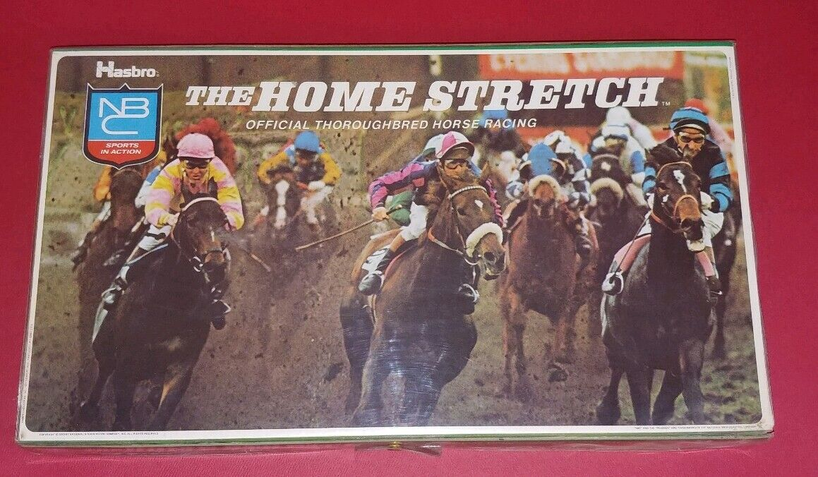 HASBRO NBC HOMESTRETCH OFFICIAL THgoldUGHBRED HORSE RACING BOARD GAME COMPLETE