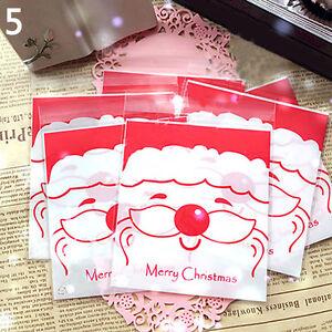 LC-100-x-fiocco-di-neve-di-Natale-Babbo-Natale-Cookie-Candy-biscotto-regalo