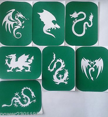 Stencils Pack of 7 Dragons-1 Vinyl DRAGON Glass Etching Stencil