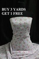Pastel Pink Green Rose Flowers Cotton print fabric material dress-making craft