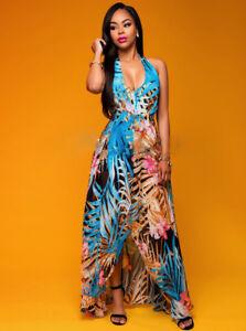 finest selection 2233f 13be3 Dettagli su Elegante vestito abito lungo colorato estivo comodo sera  scollato 4138