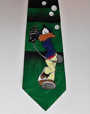 Daffy Duck tie golf player cartoon character novelty vintage 1990s sports tie