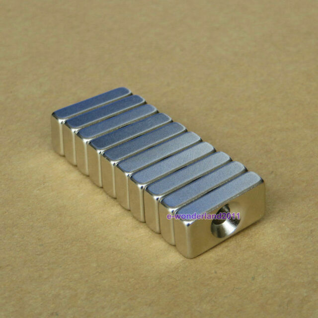 10pcs Strong Block Cuboid Rare Earth Permanent Nd-Fe-b Magnets 20x10x4mm Hole