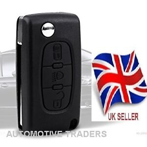 NEW-3-BUTTON-FLIP-KEY-FOB-CASE-FOR-CITROEN-C4-C5-C6-C8-With-battery-holder-A27