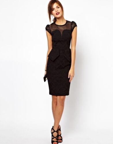 Womens KAREN MILLEN Brocade Peplum Pencil Dress Black Evening Cocktail UK Size