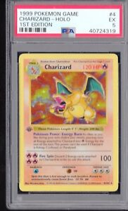 Details about PSA 5 CHARIZARD 1999 Pokemon Base 1ST EDITION GREY STAMP  SHADOWLESS 4/102 Holo