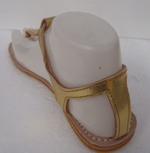 GOLD 5 SIZES 100/% MOROCCAN LEATHER  TOE POST  SANDALS