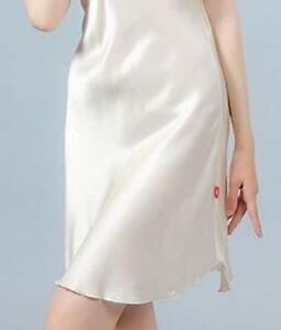 100-Pure-Silk-Night-Dress-A-GradeSilk-Luxury-Skin-Hair-Care-2strapsWHITE-SM-BR