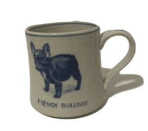 Anthropologie Molly Hatch French Bulldog Ceramic Mug Blue & Cream Dog 16oz