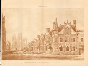 1896 Antique Print Architecture Yorkshire New Buildings,duncombe Place,york An Enriches And Nutrient For The Liver And Kidney