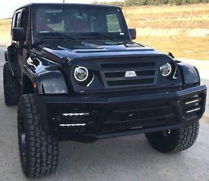 Jeep Wrangler Jk Front Bumper >> Details About Full Width Front Bumper Grille Led Lights For 2007 2018 Jeep Wrangler Jk