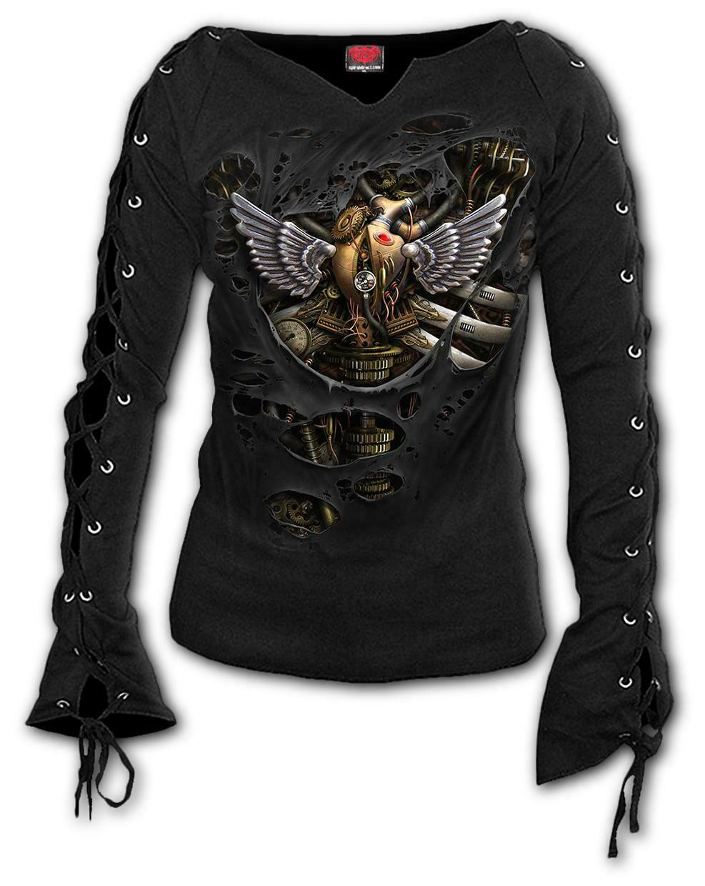 Spiral Direct STEAM PUNK RIPPED Laceup Sleeve Top Goth Ladies Biker Girls Heart