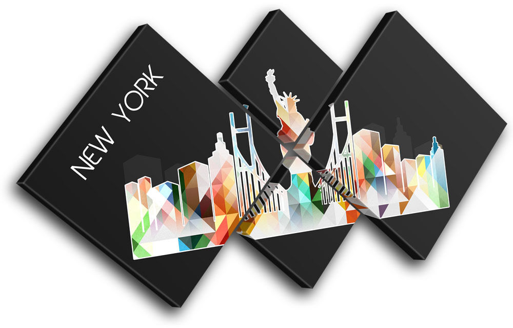 New York Geometric  City MULTI TOILE murale ART Photo Photo Photo Print 494054