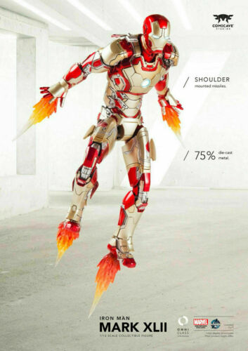 "Comicave 1//12 Iron Man MK42 Action Figure Model 6/"" Alloy Movable Toy Collectible"