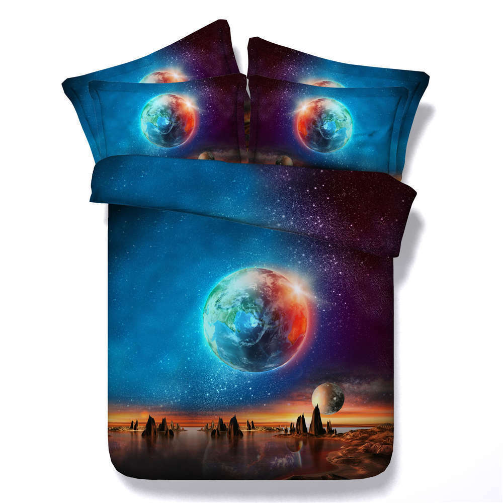 Planet Hangs Sky 3D Printing Duvet Quilt Doona Covers Pillow Case Bedding Sets
