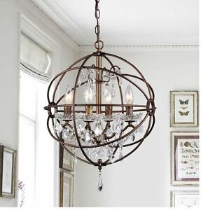 Orb Crystal Chandelier 4 Light Fixture Hanging Vintage Glass Rustic ...
