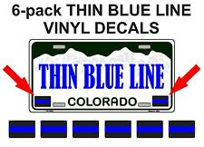 (6) THIN BLUE LINE License Plate Decals | Stickers FOP Police PBA State Trooper