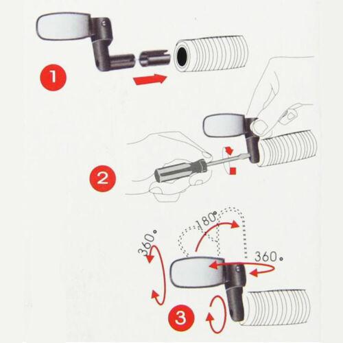 Details about  /Biciclette manubrio specchietto specchio retrovisore MTB Bici 360° rotante 2X