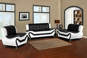 Wanda-White-Black-Bonded-Leather-living-room-Sofa-Set-3PC-2PC-Loveseat-Chair