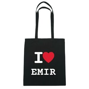 I love EMIR - Jutebeutel Tasche Beutel Hipster Bag - Farbe: schwarz