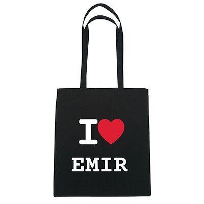 schwarz I love EMIR Jutebeutel Tasche Beutel Hipster Bag Farbe