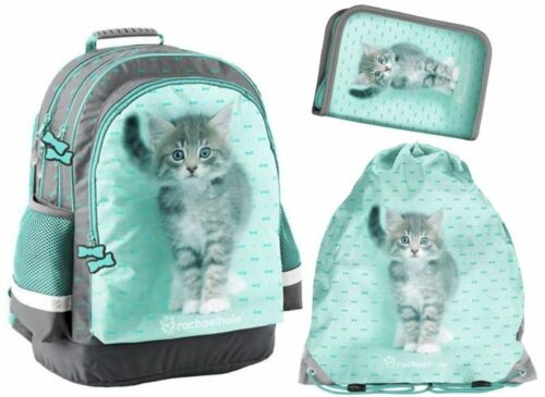 3IN1 SCHOOL BACKPACK PENCIL CASE SHOE BAG RACHAEL HALE CAT KITTEN PASO
