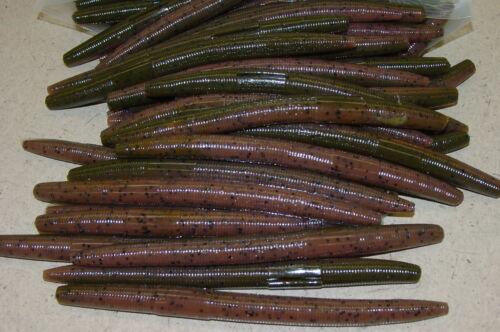 """50 pack 4/"""" Stick Senko Style Green Pumpkin Pumpkinseed Laminate Bass Lure Worm"""