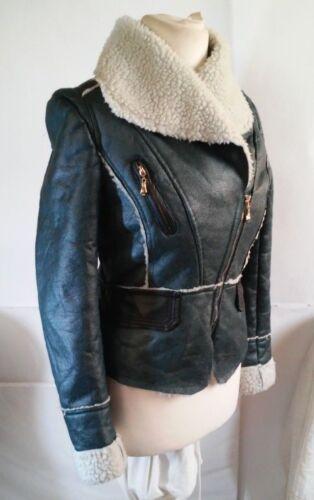 L Jacket Varm Størrelse Nice Faux Fur Grøn Foret Leather Black Fish wSxqOgA