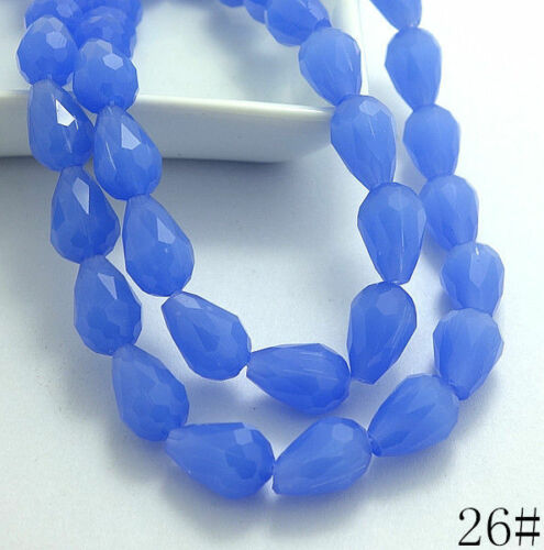 Wholesale 20pcs Faceted Teardrop Glass Crystal  Loose Spacer Beads 8x12mm