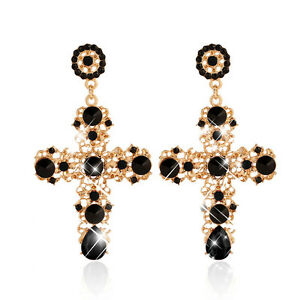 Women/'s Baroque Style Luxury Black Beads Dangle Drop Cross Gold Vintage Fashion