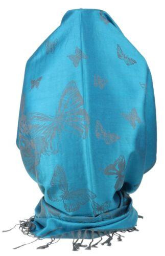 En Relief Papillon Imprimer Châle Pashmina Écharpe Hiver Pompons cou Accessoires