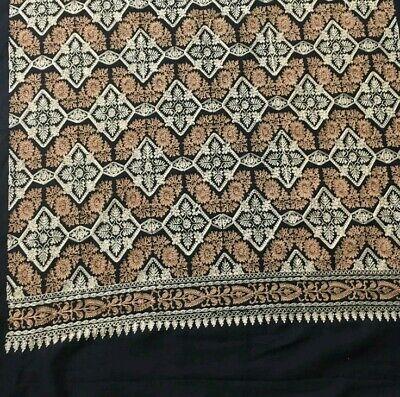 Luxurious Hand Embroidered Shawl Scarf Stole Wrap Hijab Fine Kashmiri Wool Black
