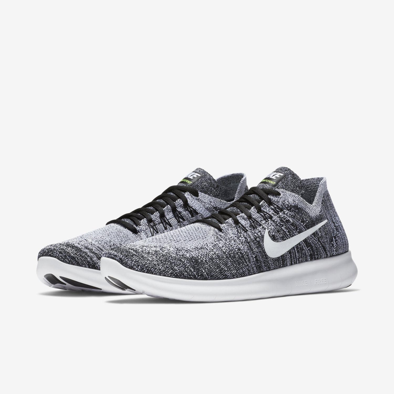 Nike Free RN Fyknit 2017 Black/White/Volt (880843 003) Men's Sizes